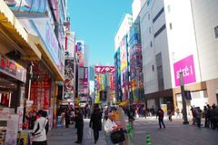 Calle en Akihabara en Tokio, Japón Imagen de archivo