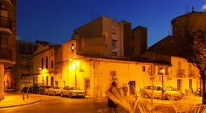 Calle en ciudad mediterránea en la noche. Sant Adria de Besos Fotos de archivo libres de regalías