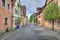 Calle en el der Tauber, Alemania del ob de Rothenburg Imagen de archivo