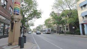 Calle en el ` s Boystown de Chicago