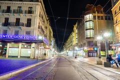 Calle en Ginebra, Suiza Imagen de archivo libre de regalías