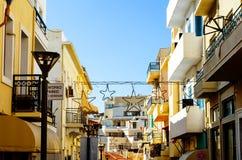 Calle en Heraklion la capital de Creta en Grecia Fotografía de archivo libre de regalías