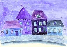 Calle en invierno Stock de ilustración