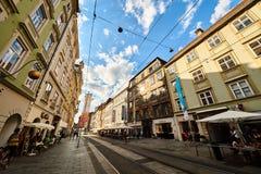 Calle en la ciudad Graz Steiermark Foto de archivo