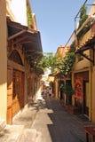 Calle en la ciudad vieja de Rodas Grecia Fotos de archivo libres de regalías