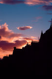 Calle en la puesta del sol, Edimburgo, Escocia de Victoria Fotos de archivo