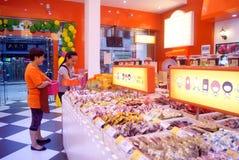 Calle en la tienda de chucherías, Changsha, China de Taiping Imágenes de archivo libres de regalías