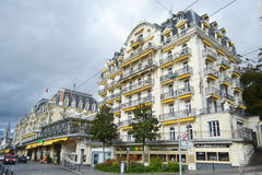Calle en Montreux, Suiza fotos de archivo libres de regalías