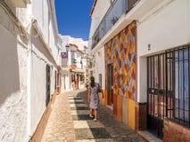 Calle en Nerja, España Imagen de archivo libre de regalías