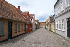 Calle en Odense Imagenes de archivo
