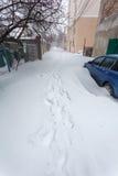 Calle en Odessa después de la tormenta de la nieve Imagen de archivo