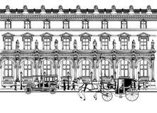 Calle en París con el carro del caballo y el coche viejo