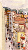 Calle en pequeña ciudad stock de ilustración