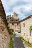 Calle en santo-Cirq-Lapopie en Francia Foto de archivo