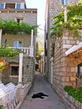Calle entre las casas de piedra Fotos de archivo libres de regalías