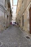 Calle escarpada del adoquín en Coímbra Fotografía de archivo