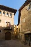 Calle estrecha en la ciudad española vieja Borja Fotografía de archivo