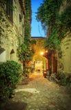 Calle estrecha en la ciudad vieja en Francia en la noche Fotos de archivo