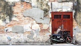 Calle famosa Art Mural en George Town, Penang, Malasia Foto de archivo libre de regalías