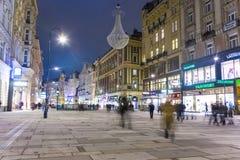 Calle famosa de Graben en la noche Fotos de archivo libres de regalías