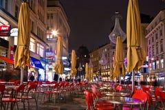 Calle famosa de Graben en Viena en la noche Foto de archivo libre de regalías