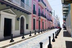 Calle Fortaleza, old San Juan, Puerto Rico stock images