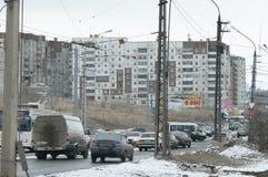 Calle Gagarina de Bratsk Foto de archivo libre de regalías