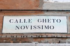Calle ghetto novissimo, street plate, Venice, Italy. Calle ghetto novissimo, street plate on the wall in jewish quarter of Venice, Italy royalty free stock photos