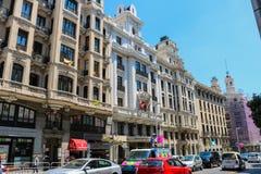Calle Gran Via-straat na de vrolijke trots in Juli 2018 royalty-vrije stock afbeeldingen