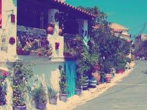 Calle griega Grecia, Peloponeso, Koroni foto de archivo libre de regalías