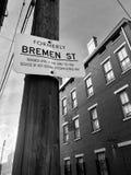 Calle histórica adentro sobre el Rin en Cincinnati fotografía de archivo libre de regalías