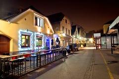 Calle histórica de Opatovina de la opinión de la tarde de Zagreb Imágenes de archivo libres de regalías