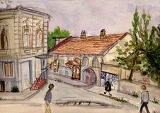 Calle Hulojsky en una ciudad de Batumi ilustración del vector