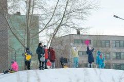 Calle Krupskoy-Gagarina de Bratsk Imágenes de archivo libres de regalías
