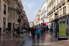 Calle Larios, Malaga. Shoppers on La Calle Marqués de Larios, Malaga, Costa del Sol, Spain stock images