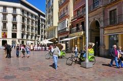 Calle Larios in Malaga, Spanje stock foto's