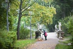 Calle limpia del portero de las hojas de otoño amarillas Imagen de archivo libre de regalías