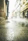 Calle lluviosa del viejo centro de ciudad de Ljubljana Fotos de archivo