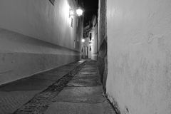 Calle los Judíos. Monochromatic image of the Jewish street in Cordoba, Spain, the tripod was placed almost hitting the floor and against the wall Royalty Free Stock Photography