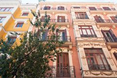 Calle in Madrid. House detail in calle in the historic centre of Madrid, Spain stock photography