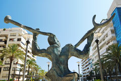 Calle Marbella España de la exposición de la estatua de la escultura Fotografía de archivo libre de regalías