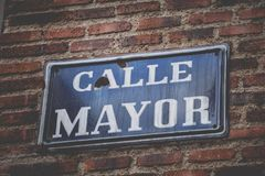 Calle Mayor sign in Madrid. Spain stock photo