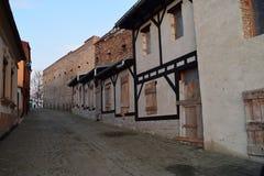 Calle medieval en medios, Rumania Foto de archivo libre de regalías