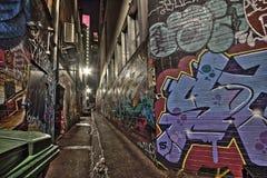 Calle Melbourne HDR de Graffity del callejón del cercado Foto de archivo libre de regalías