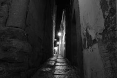 Calle muy estrecha. Monochromatic image of a street in Cordoba, Spain, the tripod was placed almost hitting the floor and against the wall, is of the narrowest Stock Images
