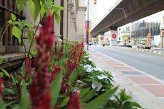 Calle muy transitada de Kuala Lumpur Masjid Jamek Imagenes de archivo