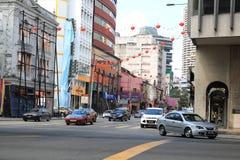 Calle muy transitada de Kuala Lumpur Masjid Jamek Foto de archivo libre de regalías