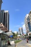 Calle muy transitada de Kuala Lumpur Masjid Jamek Fotografía de archivo libre de regalías