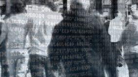 Calle muy transitada y códigos de programa almacen de video