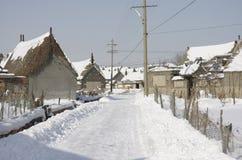 Calle nevada después de la tormenta de la nieve Imagen de archivo libre de regalías